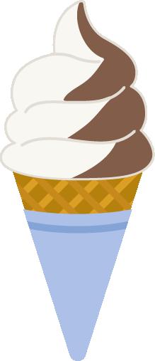ミックスソフトクリームのイラスト(コーン)