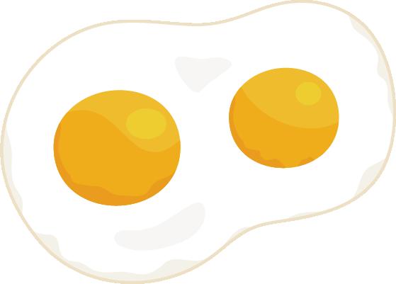 双子の目玉焼きのイラスト