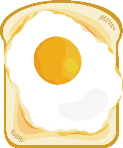 目玉焼きトーストのイラスト
