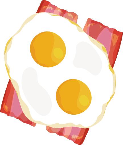ベーコンエッグのイラスト(双子の卵)