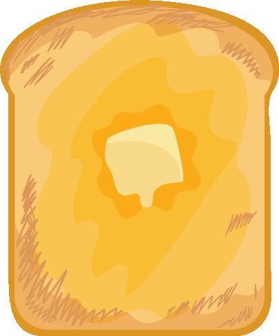 バターの乗ったトーストのイラスト