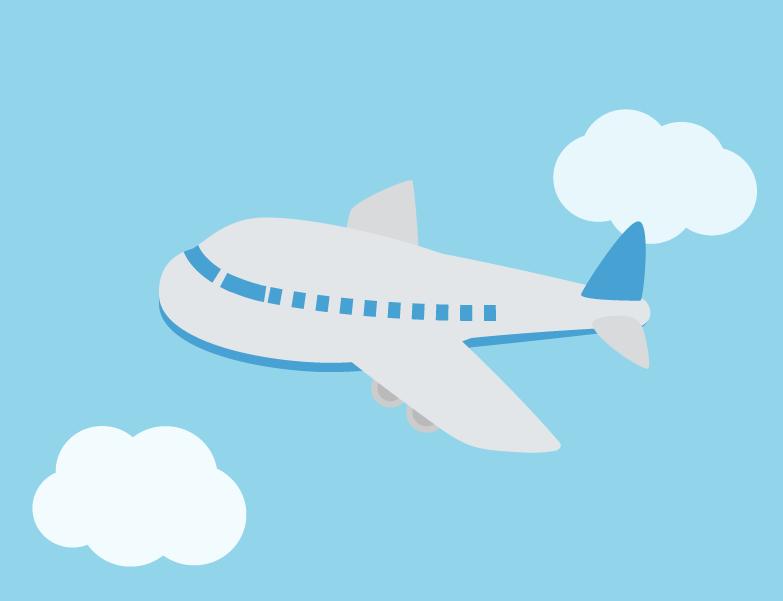 空を飛ぶ飛行機のイラスト(青)
