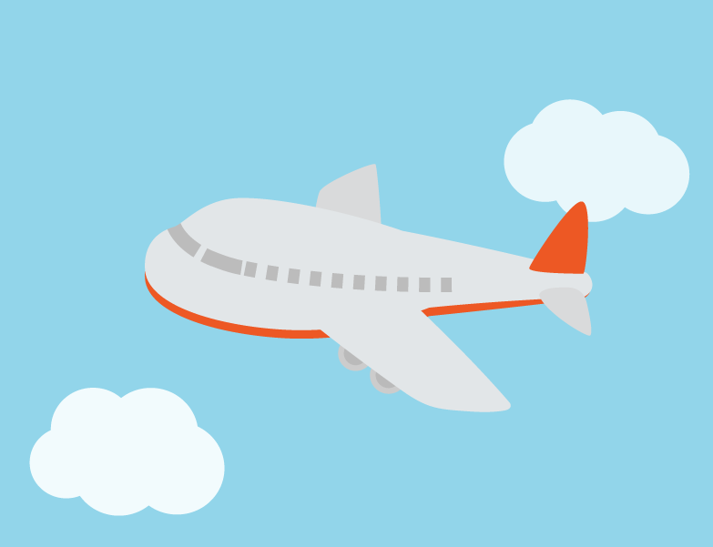 空を飛ぶ飛行機のイラスト(赤)