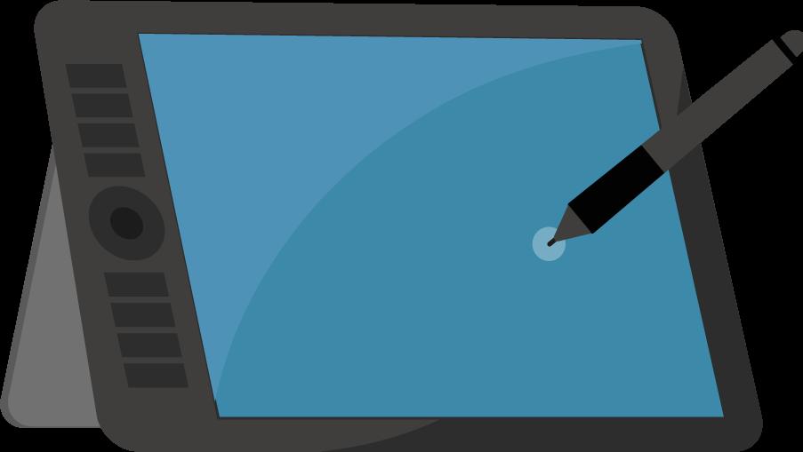 液晶タブレットとペンのイラスト(タッチ)