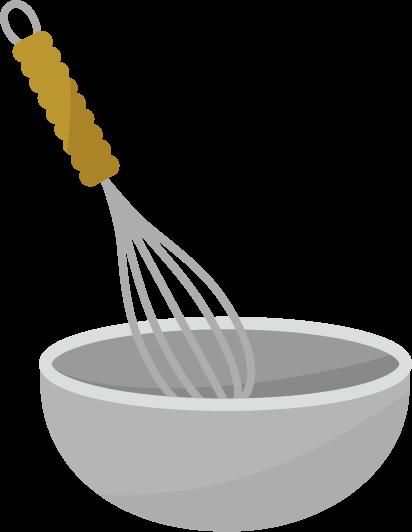 調理用のボウルと泡立て器のイラスト