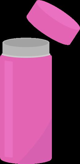 ピンク色のステンレスボトルのイラスト