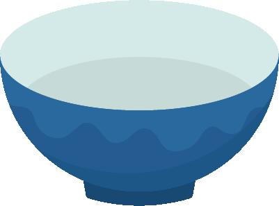 青色の陶器の茶碗のイラスト