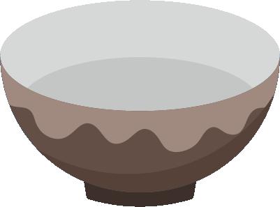 茶色の陶器の茶碗のイラスト