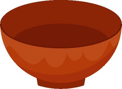 朱塗りの漆器のお味噌汁のお椀のイラスト