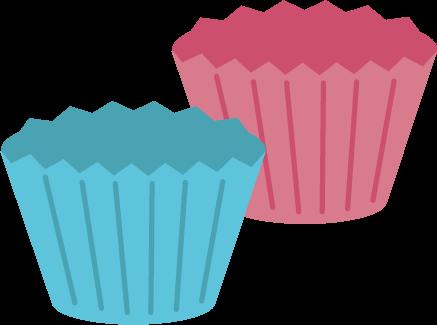 お菓子の型のイラスト(ピンクと青)