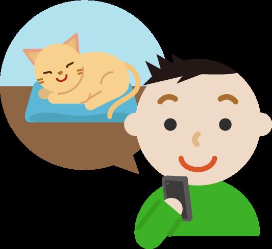 ペットの見守りイラスト(男性と猫)3