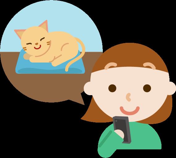 ペットの見守りイラスト(女性と猫)3