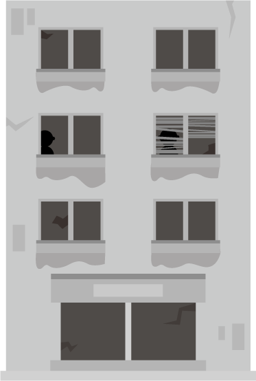 不審な人影のある廃ビルのイラスト