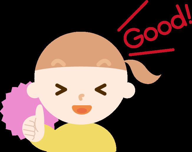 サムズアップする女の子のイラスト(GOOD)