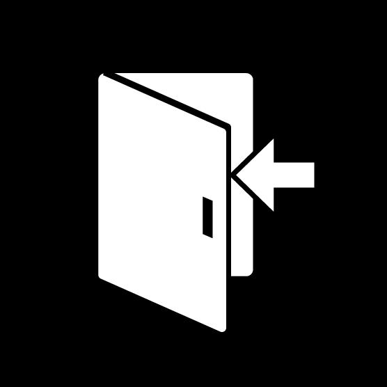 扉のアイコンイラスト(丸・白黒)