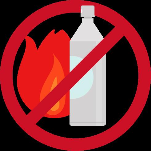 スプレー缶火気厳禁のアイコンイラスト