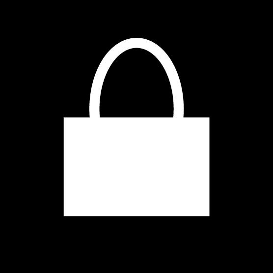 ショッピングバッグのアイコンイラスト(丸・白黒)