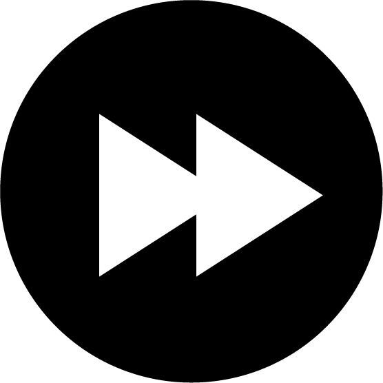 「早送り」ボタンのアイコンイラスト(丸・白黒)
