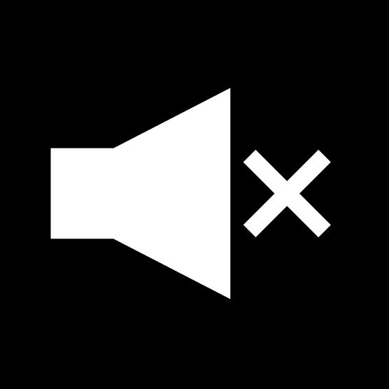 「消音」ボタンのアイコンイラスト(丸・白黒)