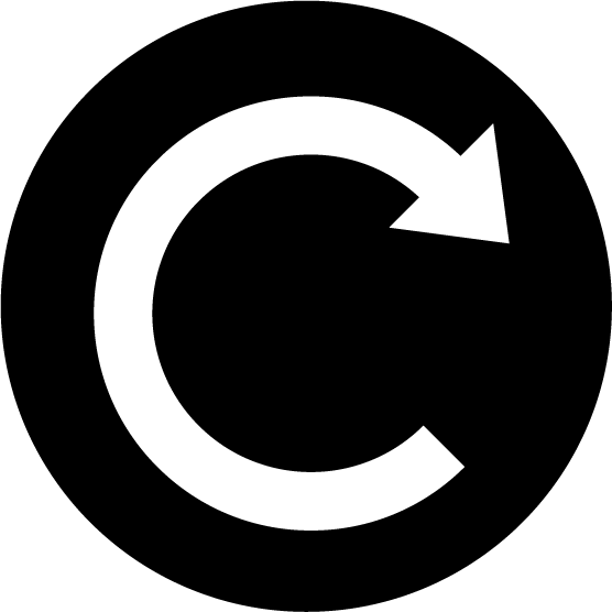 「更新」ボタンのアイコンイラスト(丸・白黒)