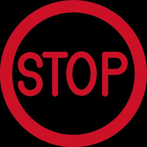 「STOP」のアイコンイラスト(赤)