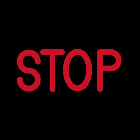 「STOP」のアイコンイラスト(黒・赤)