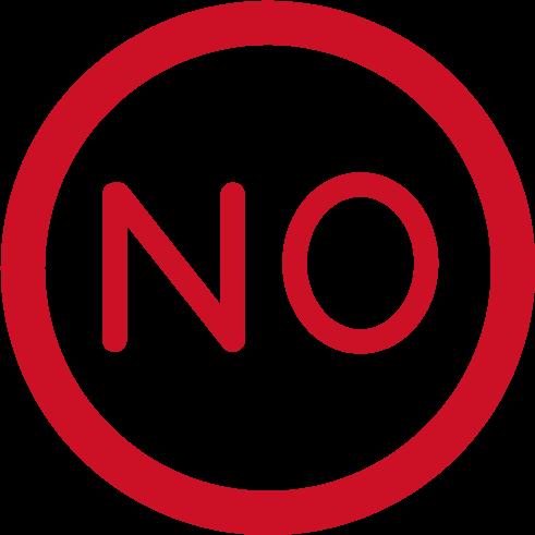 「NO」のアイコンイラスト(赤)