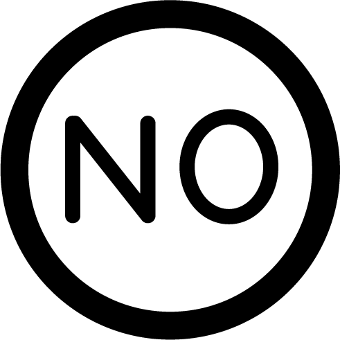 「NO」のアイコンイラスト(白黒)