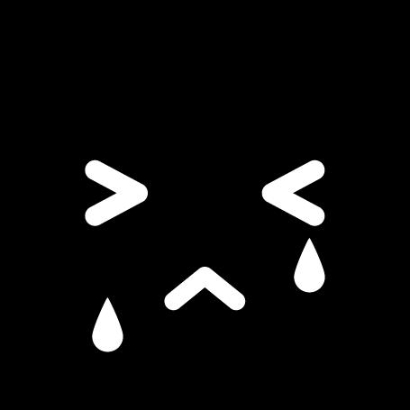 顔アイコンのイラスト(悲しい・白黒)