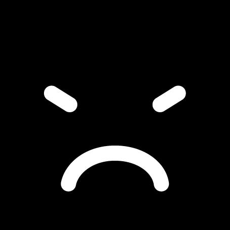 顔アイコンのイラスト(怒り・白黒)