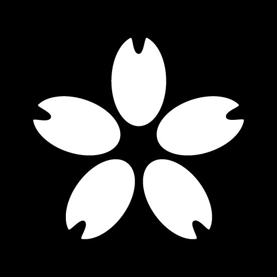桜のアイコンイラスト(丸・白黒)