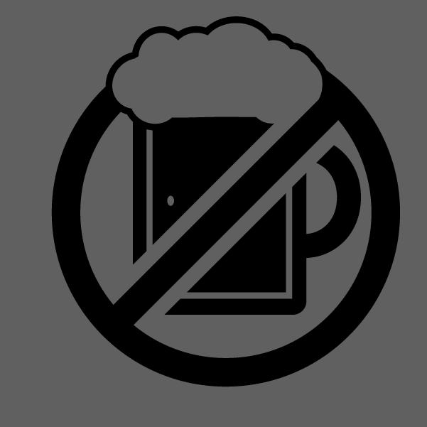 ビール禁止のアイコンイラスト(白黒)