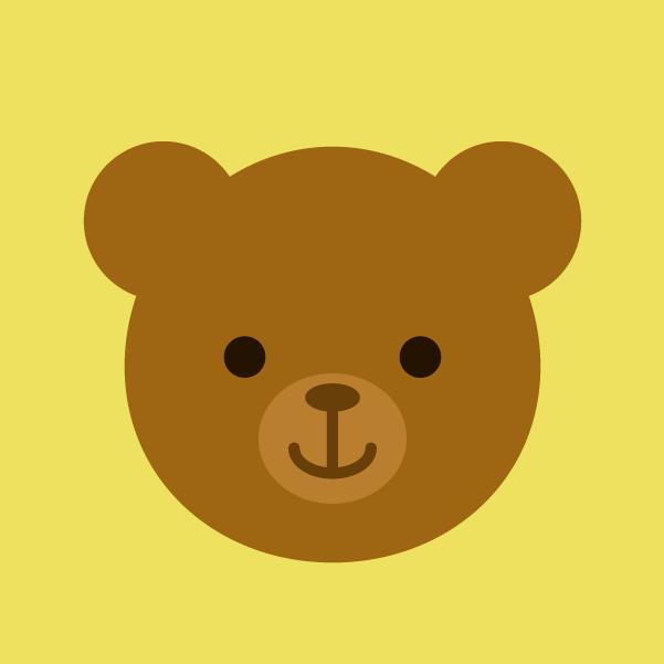 焦げ茶色のクマのアイコンイラスト2