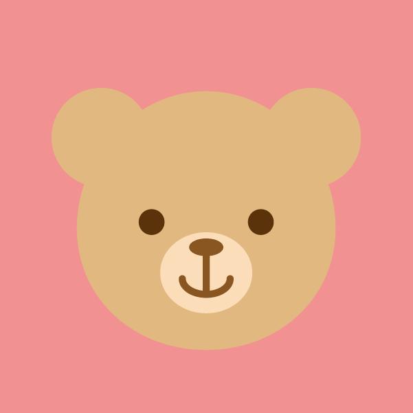 薄茶色のクマのアイコンイラスト2