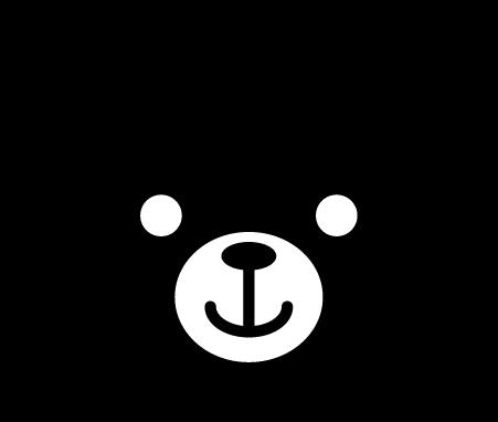 クマのアイコンイラスト(白黒)