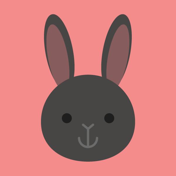黒ウサギのアイコンのイラスト2