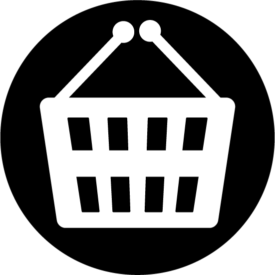 買い物かごのアイコンのイラスト(丸・白黒)