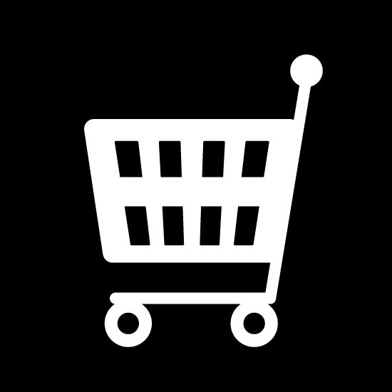ショッピングカートのアイコンイラスト(白黒・丸)