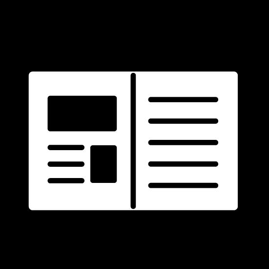新聞・雑誌のアイコンイラスト(丸・白黒)