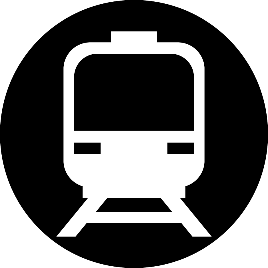 電車のアイコンのイラスト(白黒・丸)