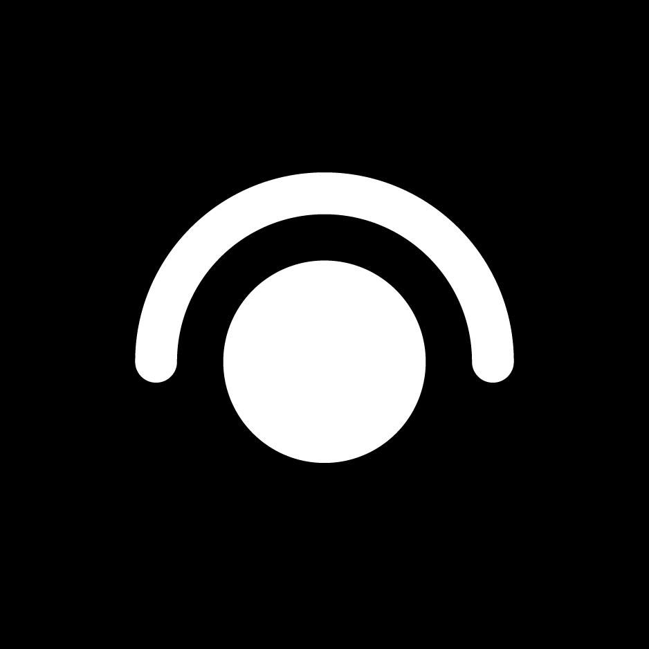 目のアイコンイラスト(白黒・丸)