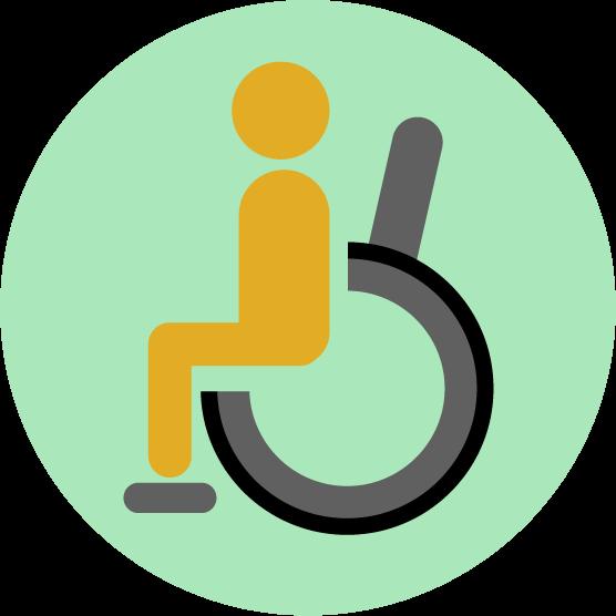 車椅子のアイコンイラスト(丸)