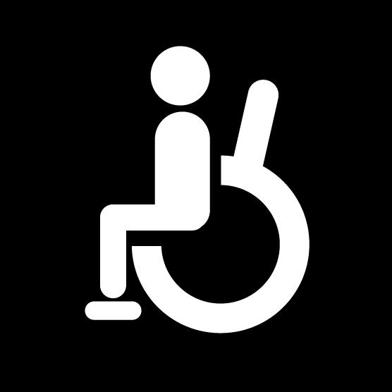 車椅子のアイコンイラスト(白黒・丸)