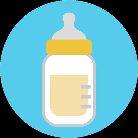 哺乳瓶のアイコンイラスト(丸)