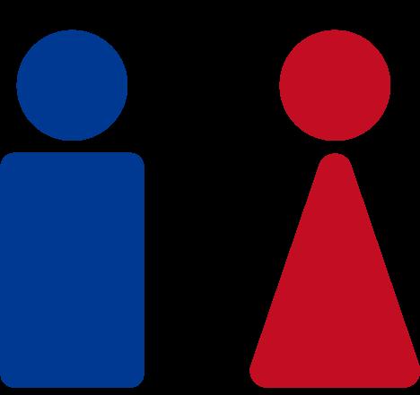 簡略化したトイレのアイコンイラスト(男女)