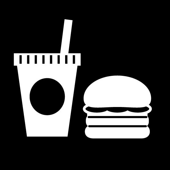飲食アイコンのイラスト(丸・白黒)
