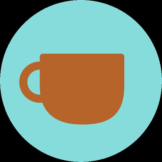 コーヒーカップのアイコンイラスト(丸)
