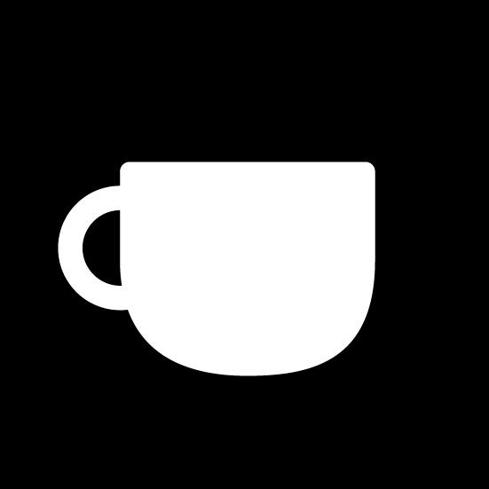コーヒーカップのアイコンイラスト(丸・白黒)