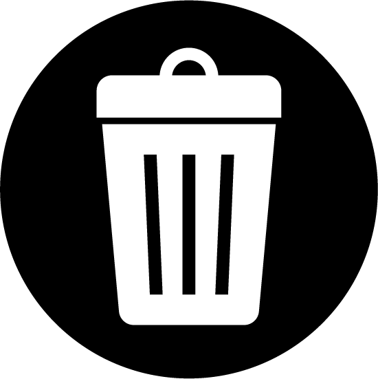 ゴミ箱のアイコンイラスト(白黒・丸)