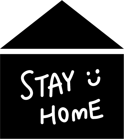 「STAY HOME」アイコンイラスト(白黒)